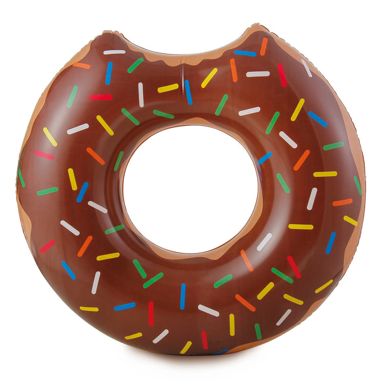 RhinoMaster Play Chocolate Doughnut Pool Tube - Novelty Inflatable Food Swim Ring