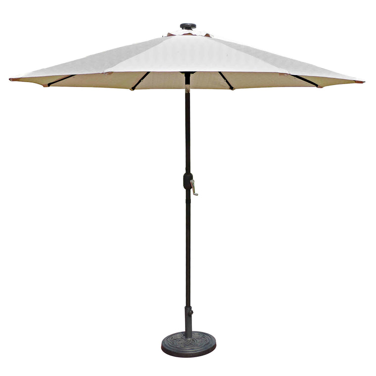 Island Umbrella Mirage Fiesta 9-ft Octagonal Market Umbrella with Solar LED Lights