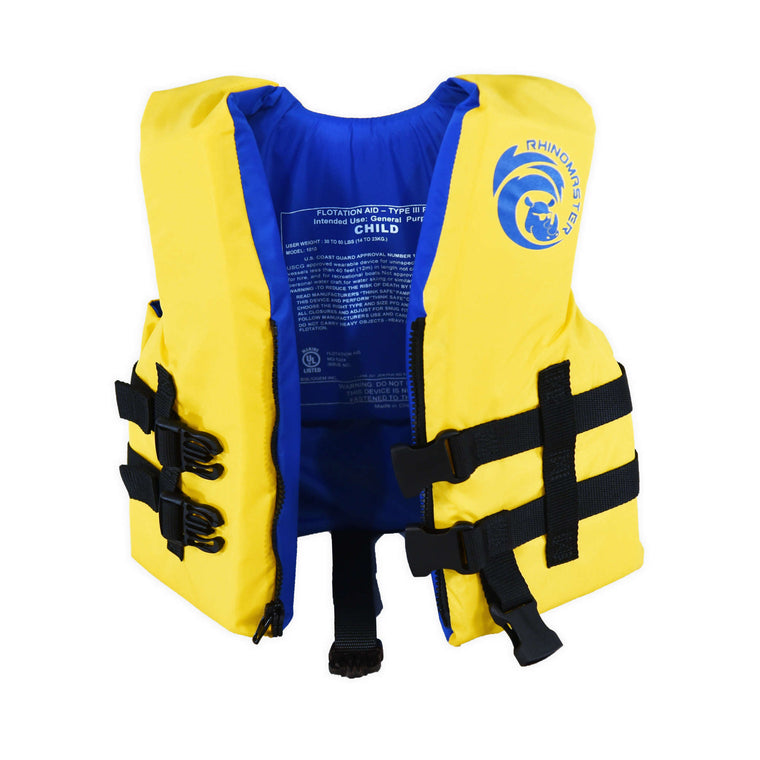 RhinoMaster Child Life Vest for Watersports (Yellow) - USCG Approved Type III