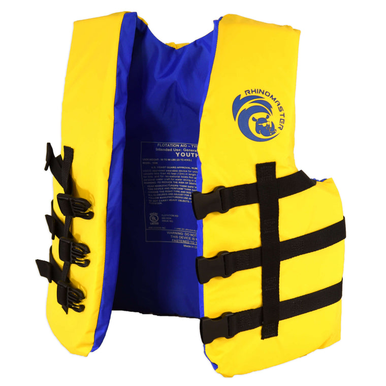 RhinoMaster Youth Life Vest for Watersports (Yellow) - USCG Approved Type III