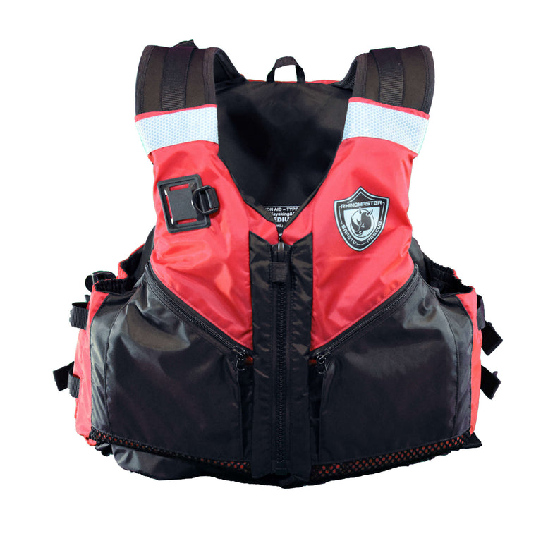 RhinoMaster Adult Life Vest for Watersports (Red) - USCG Approved Type III