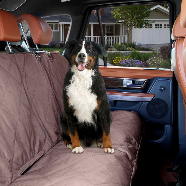 Dog Car Seat Cover Waterproof  with Seat Anchors and Heat Straps - Brown