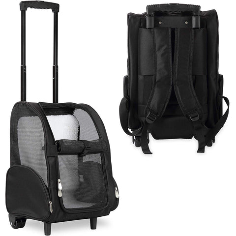 KOPEKS Pet Backpack with Wheels - Black