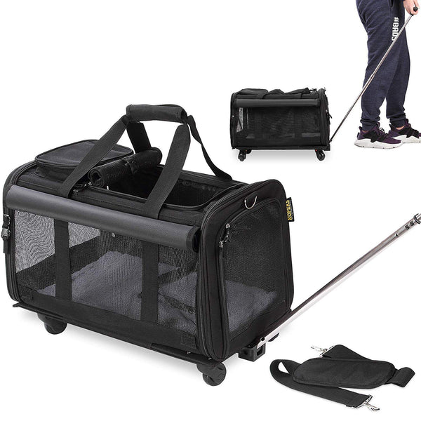 KOPEKS Pet Carrier with Wheels - Black