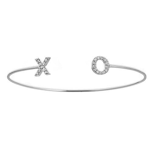 Personalized 14k Diamond Initials Bangle - BA3645