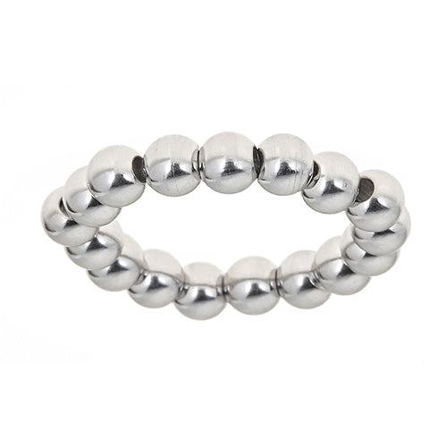 White Beaded Stretch Ring