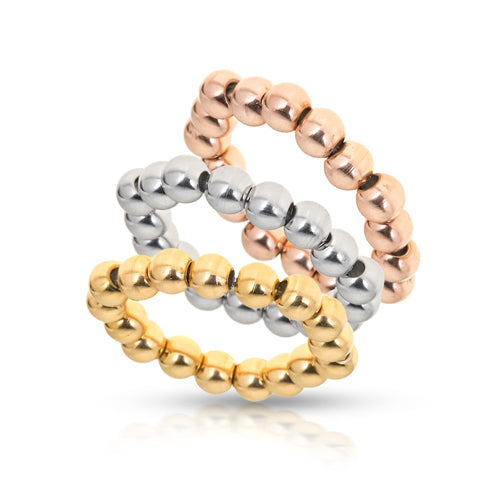 3 Beaded Stretch Rings Set