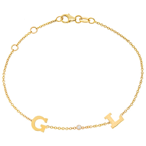 Personalized 14k Mini 2 Initial & Diamond Bracelet - BM112D