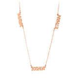 Personalized Multi Name Block Necklace  - BR43B