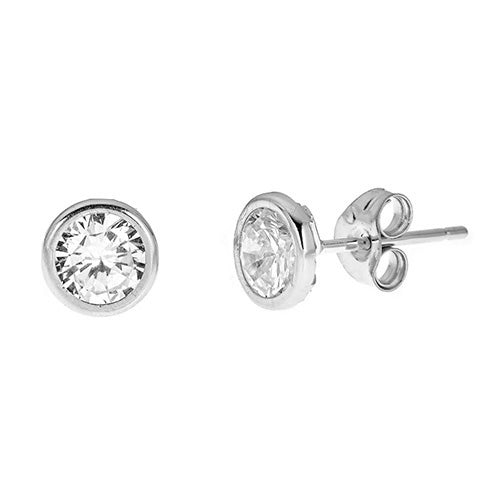 14K BEZEL CZ STUDS EARRINGS - CZE14B6
