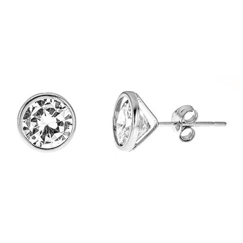 14K BEZEL CZ STUDS EARRINGS - CZE14B8