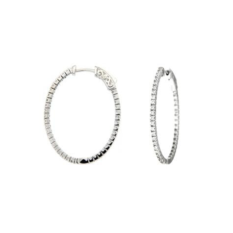 Inside & Out 1.25 Inch Oval  Hoop Earrings - CZE181