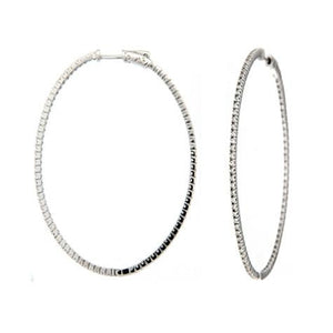 Inside & Out 2 Inch Oval  Hoop Earrings - CZE18