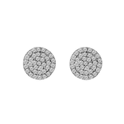 Pave disc Stud Earrings - CZE1
