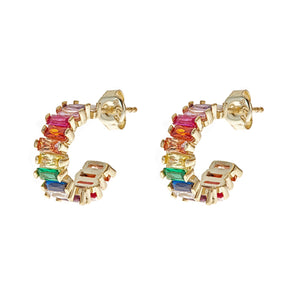 Rainbow Huggie Earrings -  CZE526