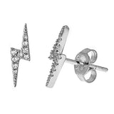 Lightning Bolt Stud Earrings - CZE552