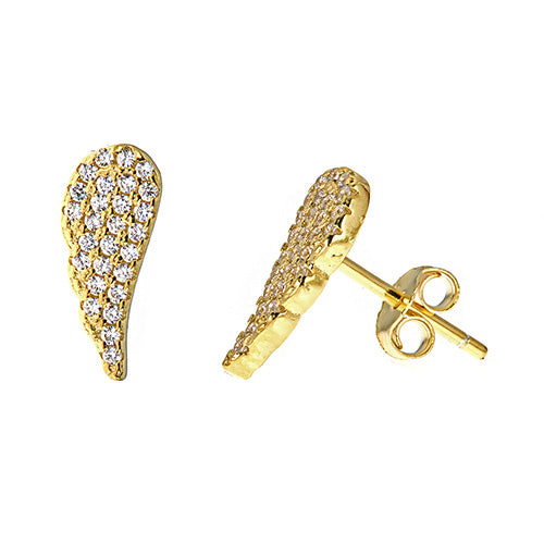 Angel Wing Stud Earrings - CZE564