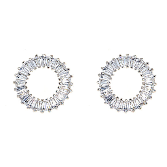Baguette  Circle Stud Earrings - CZE907