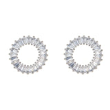 Circle Baguette  Stud Earrings - CZE907