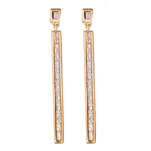 Baguette Bar Earrings - CZE919