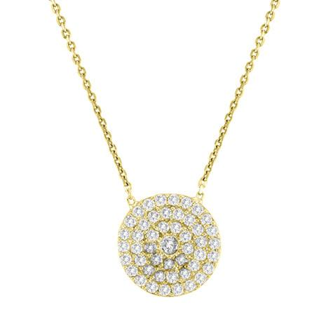Medium Pave Disc Necklace - CZP1