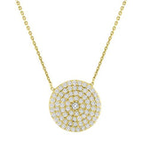Large Pave Disc Necklace - CZP20