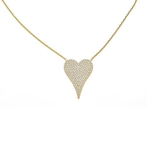 Elongated Pave Heart Necklace - CZP30