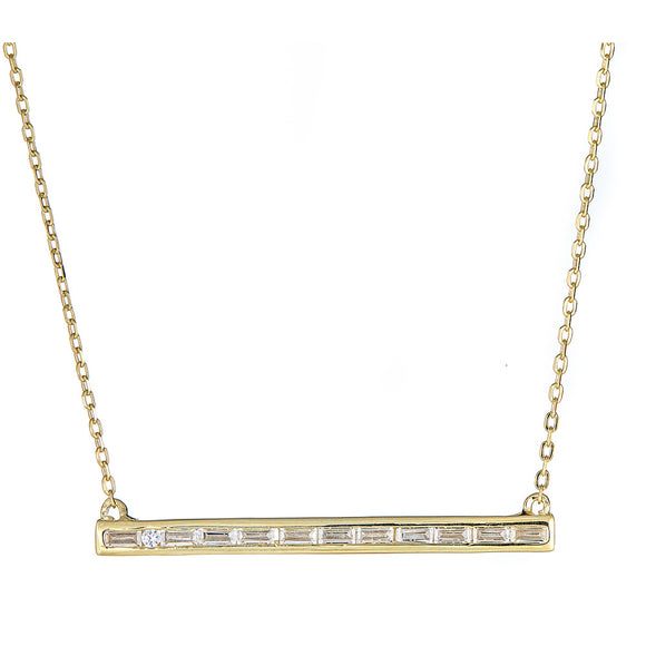 Baguette Bar Necklace - CZP43