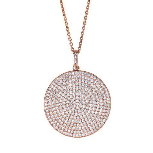 Extra Large Pave Disc Necklace - CZP48