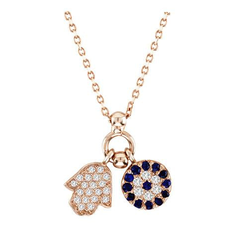 Hamsa & Mosaic Evil Eye Necklace - CZP4