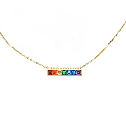 Rainbow Bar Necklace - CZP52