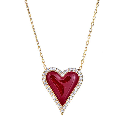 Red Enamel Heart Necklace - CZP53
