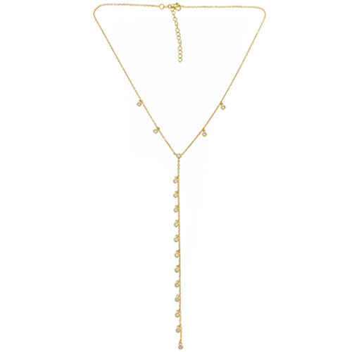 Bezel Drop Y Necklace - CZP54