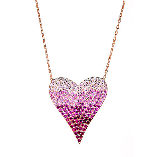 Multi Color  Heart Necklace - CZP58