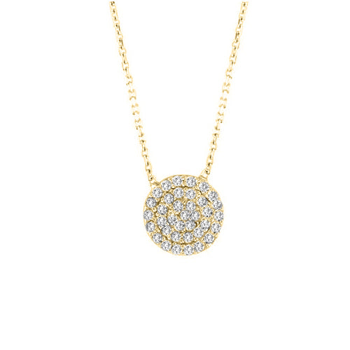Small Pave Disc Necklace - CZP59