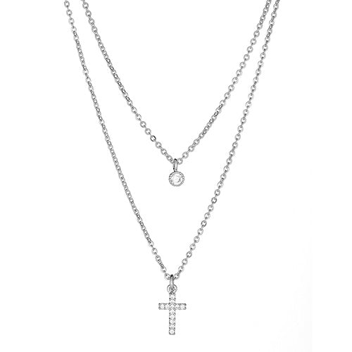 Cross Double Layered Necklace