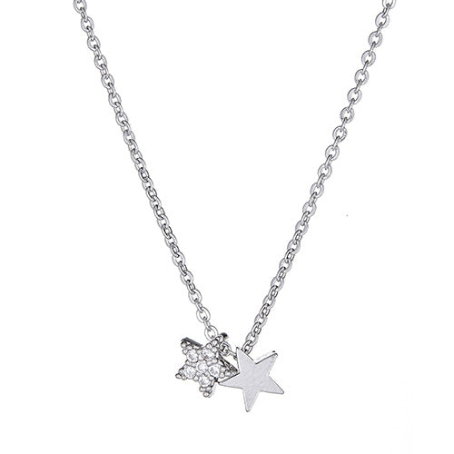Pave Star & Plain Star Necklace
