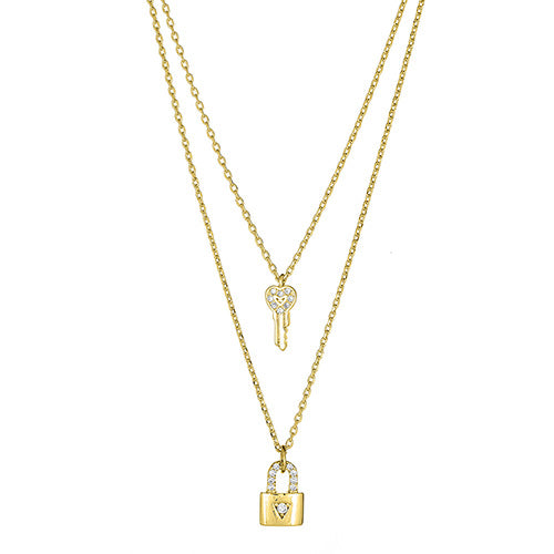 Lock & Key Double Layered Necklace