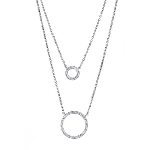Outline Circles Double Layered Necklace
