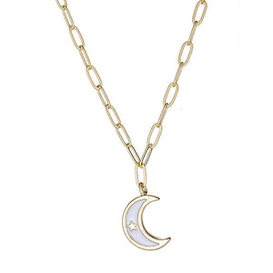White Enamel Moon Paper Clip Necklace