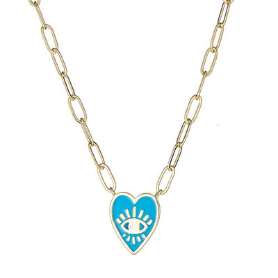 Genuine Biwa Pearl Textured Paperclip Chain Necklace with heart charm