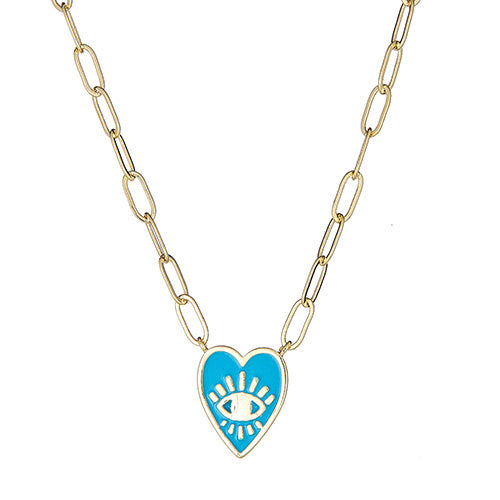 Turquoise Enamel Heart Paper Clip Necklace