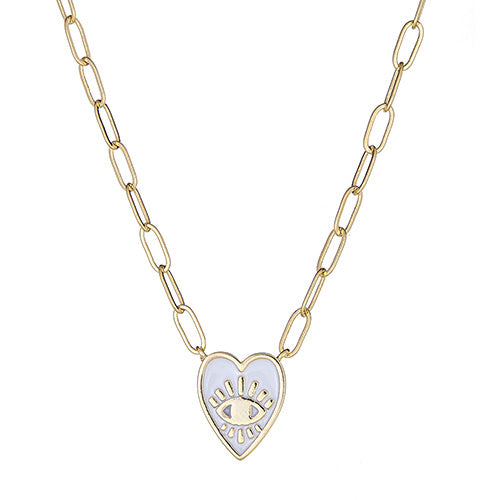 White Enamel Heart Paper Clip Necklace