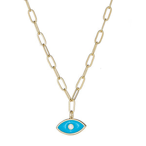 Turquoise Enamel Eye Paper Clip Necklace