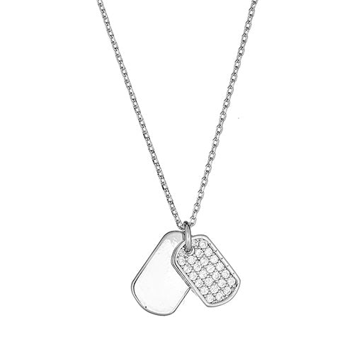 Cz & Plain Dog Tag Neckace
