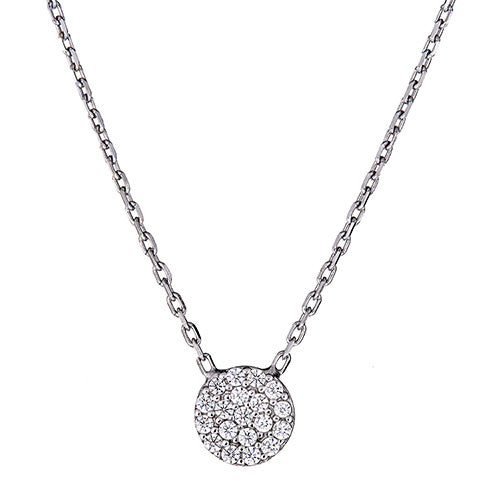 Extra Small Pave Disc Necklace - CZPP39