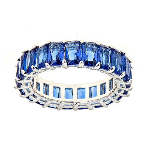 BLUE EMERALD CUT ETERNITY RING - CZR71B