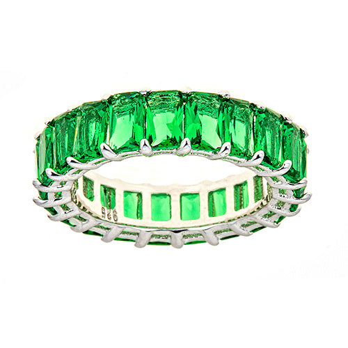 GREEN EMERALD CUT ETERNITY RING - CZR71G