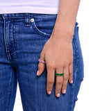 GREEN EMERALD CZ EMERALD CUT ETERNITY RING - CZR71G