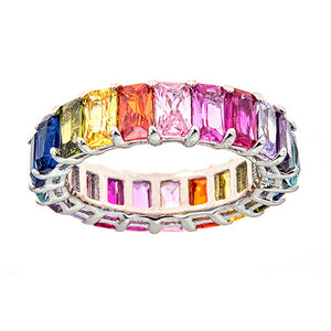 RAINBOW SAPPHIRE CZ EMERALD CUT ETERNITY RING - CZR71M